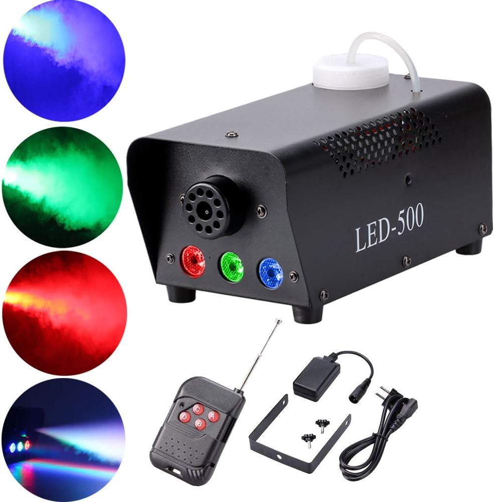 Maquina de Humo para Fiestas,UKing 500 W RGB LED Maquina Niebla con Control remoto para Matrimonio Cumpleaños Fiesta Partido Teatro Disco DJ