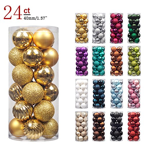 "KI Store 24ct Christmas Ball Ornaments Shatterproof Christmas Decorations Tree Balls SMALL for Holiday Wedding Party Decoration, Tree Ornaments Hooks included 1.57"" (40mm Gold) for $<!--$7.99-->"