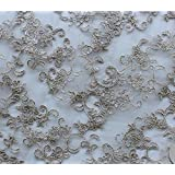 Mesh Fabric Lace Embroidered Floral Peach Blossom Taupe   52 quot; Wide   Sold by the Yard