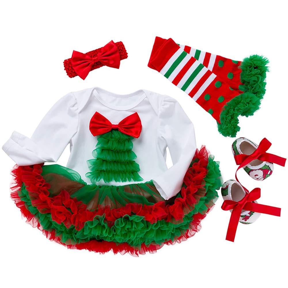Liyukee Xmas Neugeborenen Baby Mädchen Strampler Tutu Kleid Overall Kleider Halloween Weihnachten Outfits
