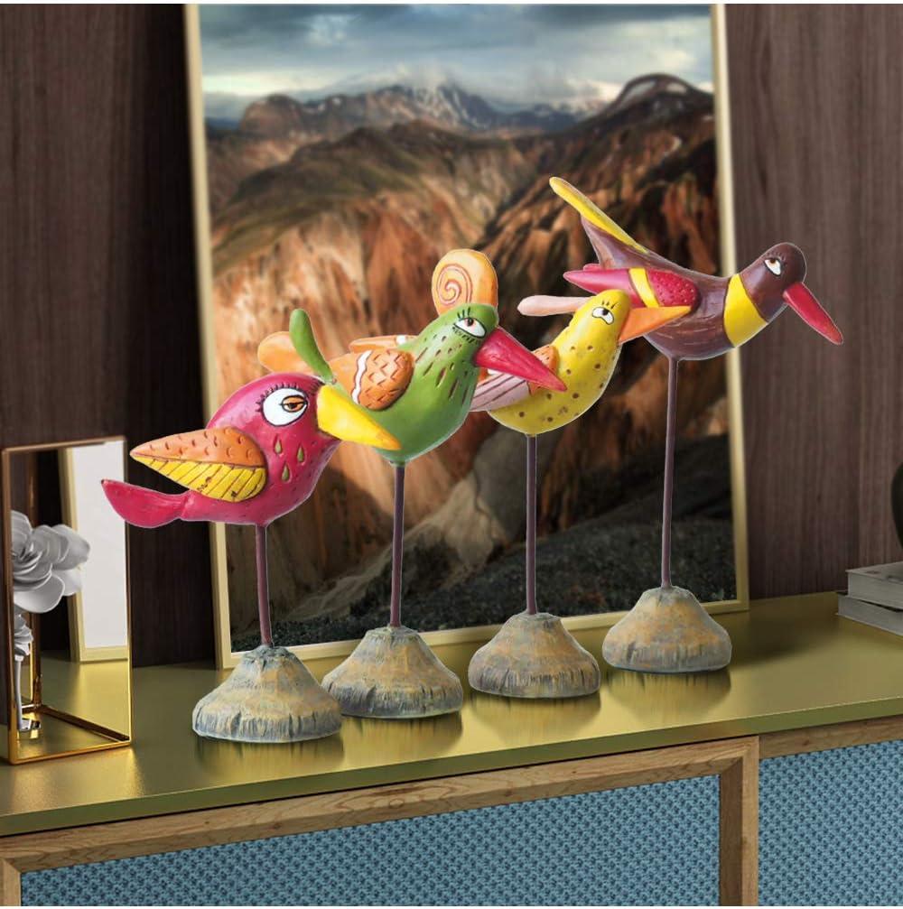 Amoy-Art Bird Figurine Sculpture Statue Animal Home Decor Decoration Ornament Gift Arts Crafts Hand Painted Polyreisn 14cmH