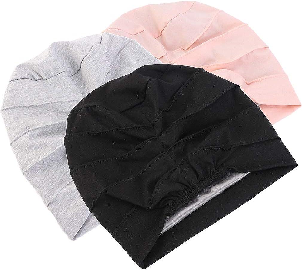 Ever Fairy 3 St/ück Chemo Cancer Cotton Kopftuch M/ütze Seide gef/ütterte M/ütze Ethnic Cloth Turban Cap f/ür Frauen