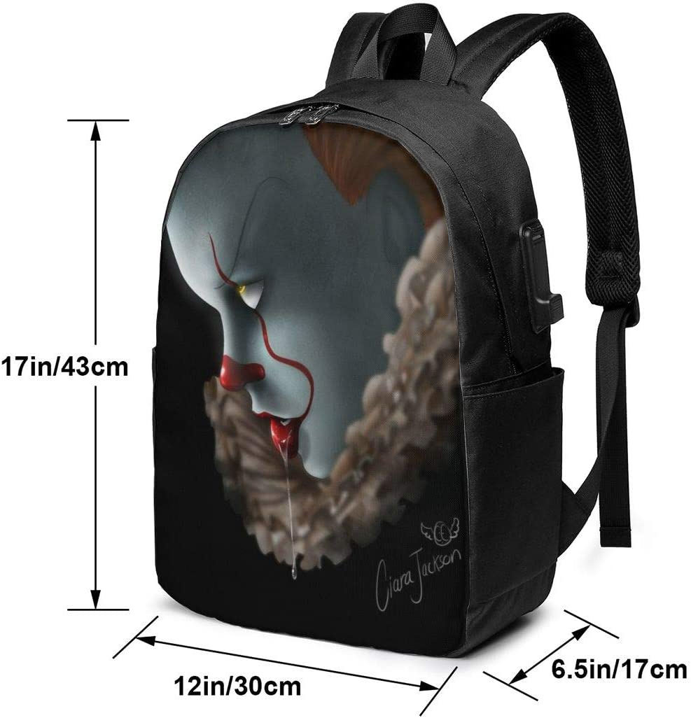 Earphone Cable Interface Backpack Sports Mountaineering Leisure Backpack Penny-Wise 17-inch Student Backpack USB Port