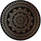 Printing Round Rug,Gold Mandala,Eastern Tribe Themed Circular Flower Motif Ornamental Meditation Symbol Decorative Mat Non-Slip Soft Entrance Mat Door Floor Rug Area Rug For Chair Living Room,Gold Bla