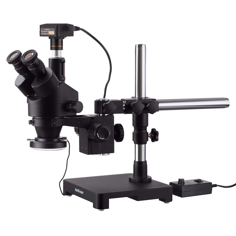 AmScope 10MP USB3.0カメラ付きシングルアームブームスタンド+ 144 LEDリング照明の7X-90Xブラック三眼鏡ステレオズーム顕微鏡   B07777WQSX