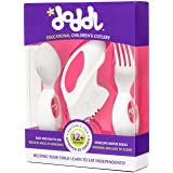 Doddl Cutlery Set Raspberry Pink - Knife, fork and spoon set. For babies or children 12+ months old. Help teach your baby or toddler to self-feed with ease using cutlery in the right way.