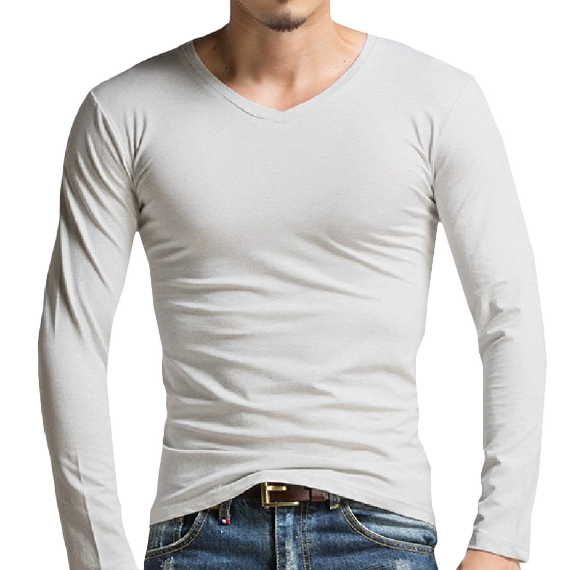 Freely Men's Fitted Pure Color Round Neck Long Sleeve Pullover Tees 1 S