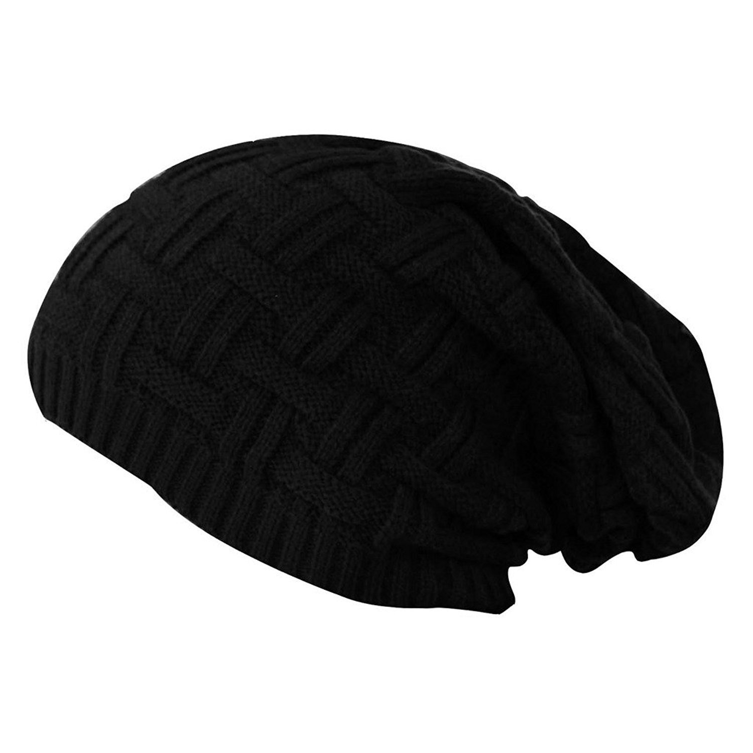 513686fc913 Gajraj Black Knitted Slouchy Beanie for Men   Women (Black)  Amazon.in   Clothing   Accessories