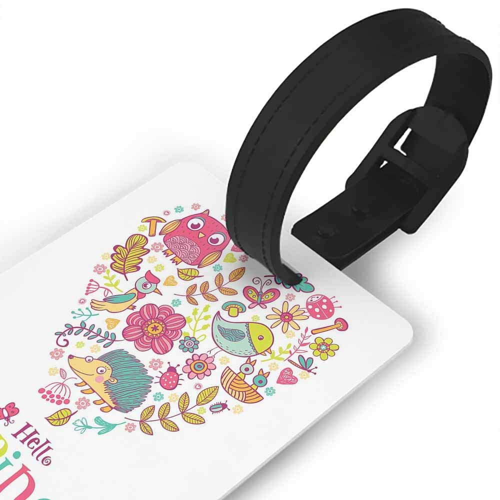 Luggage Tags with Privacy Cover,Hello,Brush Lettering Designed Calligraphy Print of Hello on Colorful Floral Background,Portable Label Multicolor