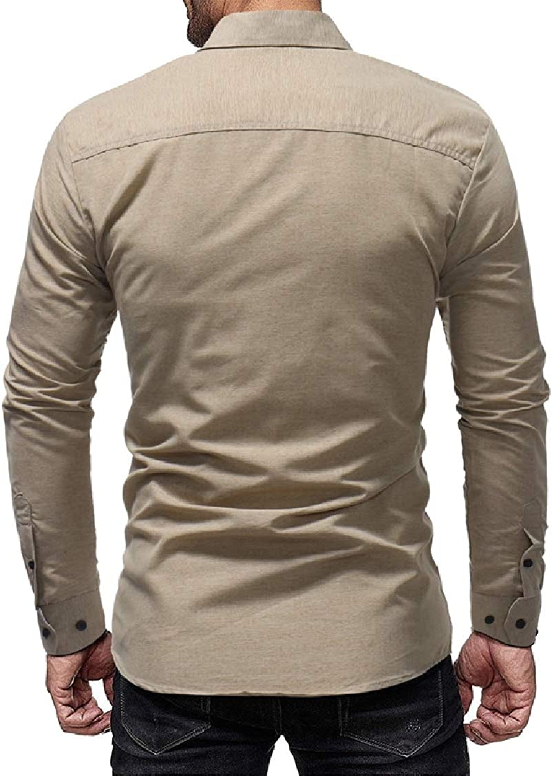 DressU Mens Easy Fitted Solid Simple Long Sleeve Collared Dress Shirts