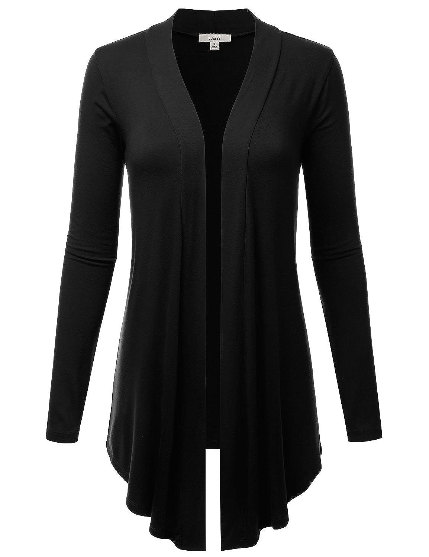 Lbt007black LALABEE Women's Draped OpenFront Long Sleeve Light Weight Cardigan (S3XL)