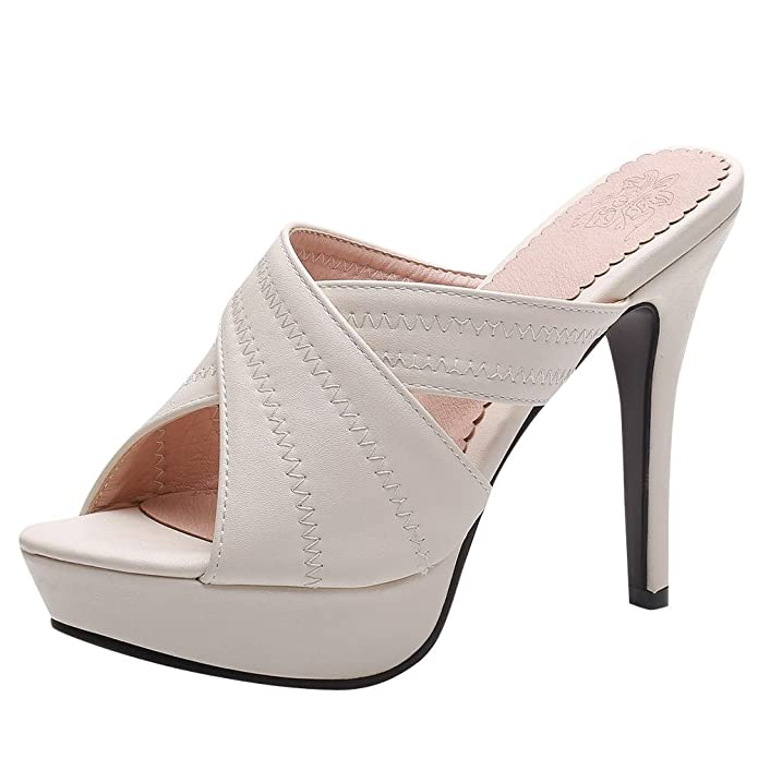 YE Damen Offene High Heels Plateau Mules Slingback Sandalen Stilettos Pantoletten Sommer Elegant Party Schuhe  35 EUBeige