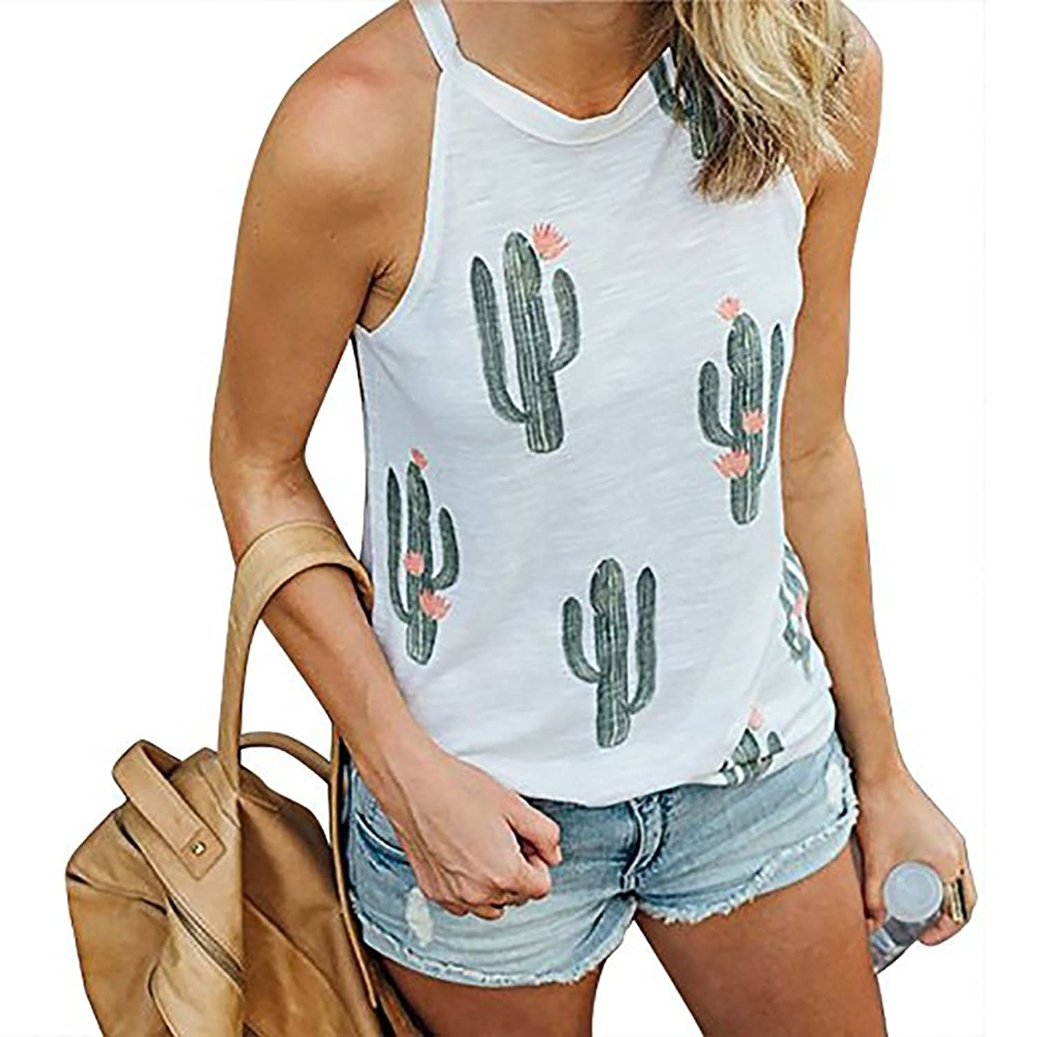 43929b65c4476 Features: Cute cactus printing camisoles, high neck, sleeveless, casual  loose fit tank tops for women. Casual halter design and cute cactus  printing tank ...