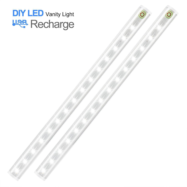 HogarTech 2Pcs Lámpara Táctil 15 LEDs USB Recargable,4 Modos del Trabajo,Luz del Gabinete / Luz del Libro / Lámpara de Maquillaje / Luz de la Emergencia, ...