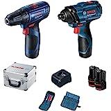 Kit Bosch Parafusadeira GSR 120-LI e Chave de Impacto GDR 120-LI, 12V com 2 baterias, 1 carregador e 1 maleta