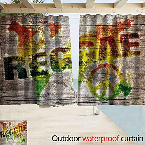 AndyTours Rod Pocket Curtains,Rasta World Map on Plaques with Reggae Lettering and Peace Symbol,Darkening Thermal Insulated Blackout,W63x63L Inches,Pale Brown Green Yellow and Orange