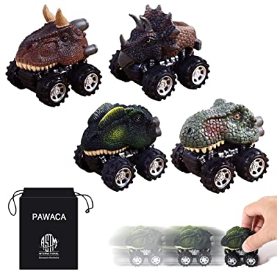 Pull Back Dinosaur Cars, Pawaca 4-Pack Dino Cars Toys with Big Tire Wheel for 3-14 Year Old Boys Girls Creative Gifts for Kids: Toys & Games