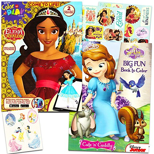 Elena of Avalor Coloring Book Super Set -- 2 Books Featuring Elena and Sofia the First (Includes 30 Elena Stickers, 2 Posters)