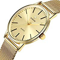 Simple Slim Mens Watch Analog Quartz Waterproof Gold Stainless Steel Mesh Band Thin Casual Dress Wrist Watches for Men