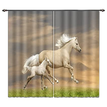 Horse Curtains For Bedroom.Lb Fantasy Home Decor 3d Blackout Window Curtains Running Horse Curtains Window Treatment Decorative Bedroom Living Room Window Drapes 2 Panels 80w X