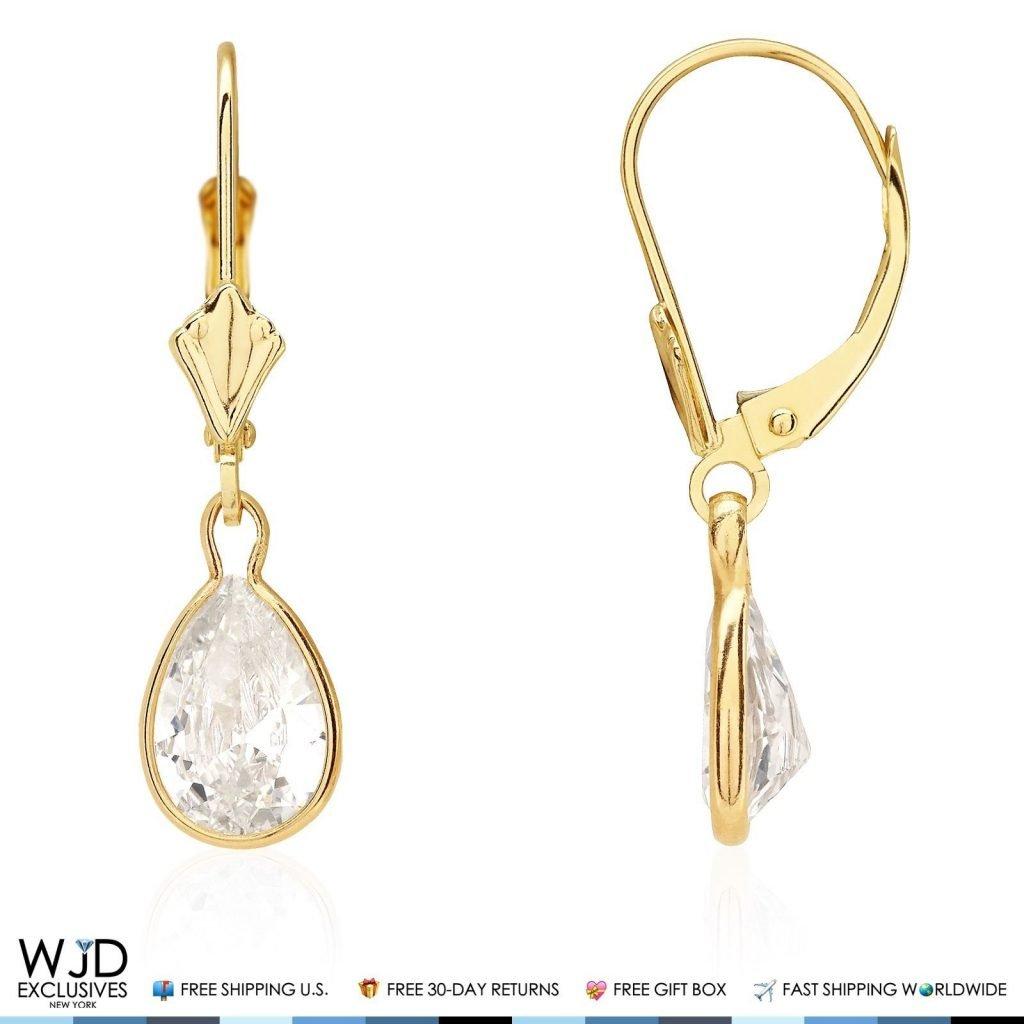 14k Yellow Gold Teardrop Bezel Birthstone Dangle Leverback Earrings 1'', Amethyst by WJD Exclusives (Image #8)