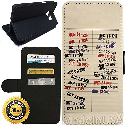 Vintage Purses Ebay - Flip Wallet Case for Galaxy S7 (Library Due Date Vintage) with Adjustable Stand and 3 Card Holders | Shock Protection | Lightweight | Includes Stylus Pen by Innosub