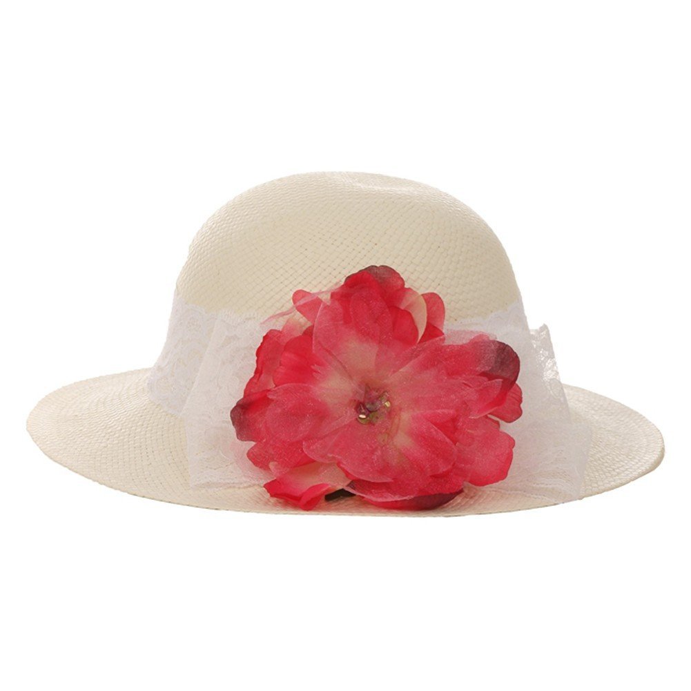 Kid's Dream Girls Straw Red Detachable Flower Lace Adorned Summer Hat 21''