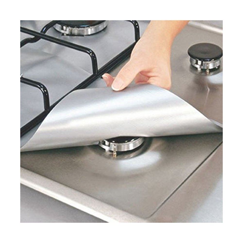 """4-Pack Gas Range Protectors - Silver/Grey Gas Stove Burner Protector Liner Cover Clean Mat Pad - Reusable, Non-Stick, Dishwasher Safe, Easy to Clean - FDA Approved,10.6"""" x 10.6"""" (Silver)"""