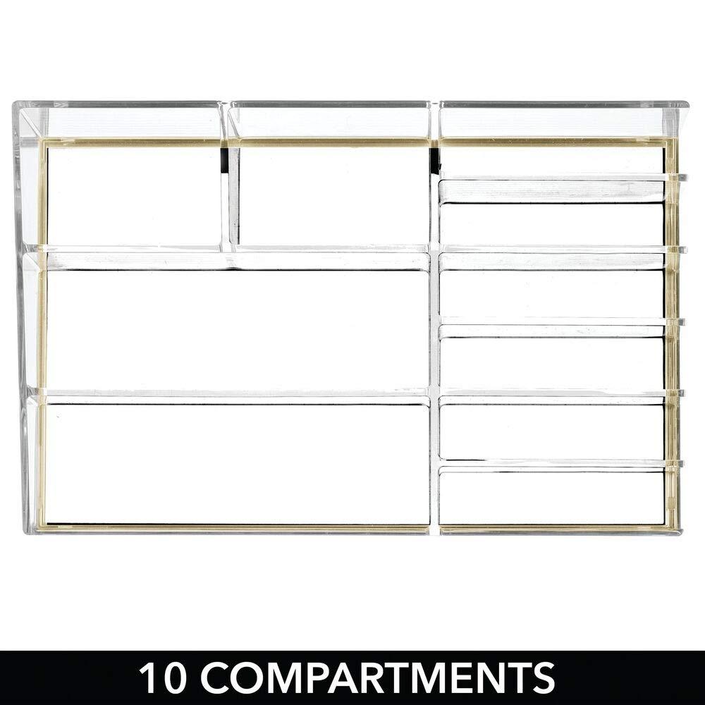 transparente//dorado Decorativa caja para guardar cosm/éticos como esmaltes de u/ñas o polveras mDesign Pr/áctico organizador de maquillaje Expositor de maquillaje con 10 compartimentos