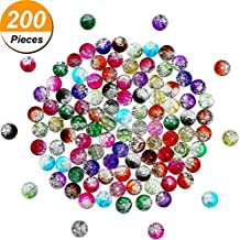 Pangda 200 Pieces 8 mm Crackle Glass Beads Colorful Crackle Beads Mixed Split Glass Round Beads for Jewelry Making and Craft