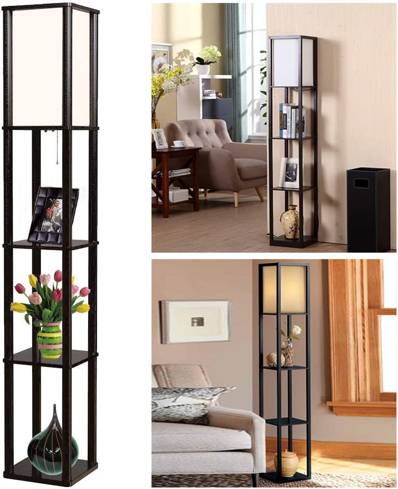 Shelf Floor Lamp - Thanger Floor Standing Lamp with Shelves - Modern Fabric Art Wooden Standing Light - Decoration Lighting Supplies for Bedroom Living Room Office and Hotel