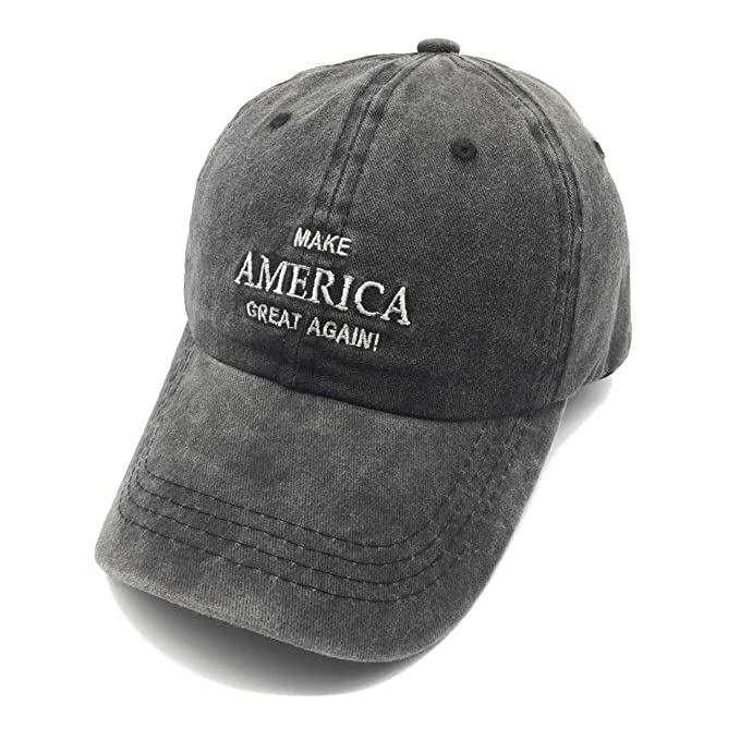 c9fc5386445 Waldeal Embroidered Make America Great Again Vintage Washed Cotton Caps USA  Hats Black