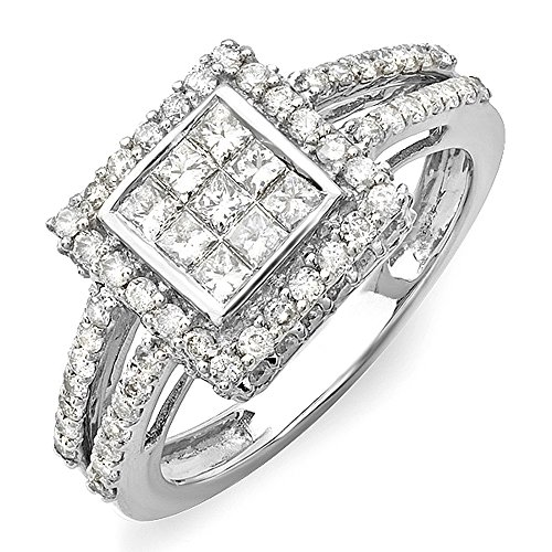 Dazzlingrock Collection 1.15 Carat (ctw) 14K Princess & Round White Diamond Engagement Invisible Set Bridal Ring, White Gold, Size 7 ()