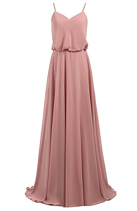 Cdress Chiffon Long Bridesmaid Dresses V-Neck Evening Dress Spaghetti Prom Gowns at Amazon Womens Clothing store: