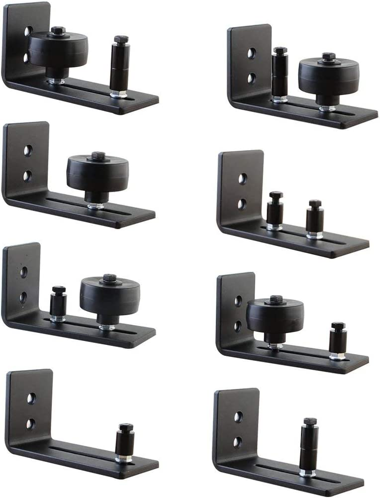 2 Pack,Screws and Anchor New Design!Barn Door Floor Guide,Wall Mounted Stay Roller Guides Flush to Floor Ultra Smooth Fully Adjustable Channel,Bottom Floor Guide for All Sliding Barn Door Hardware