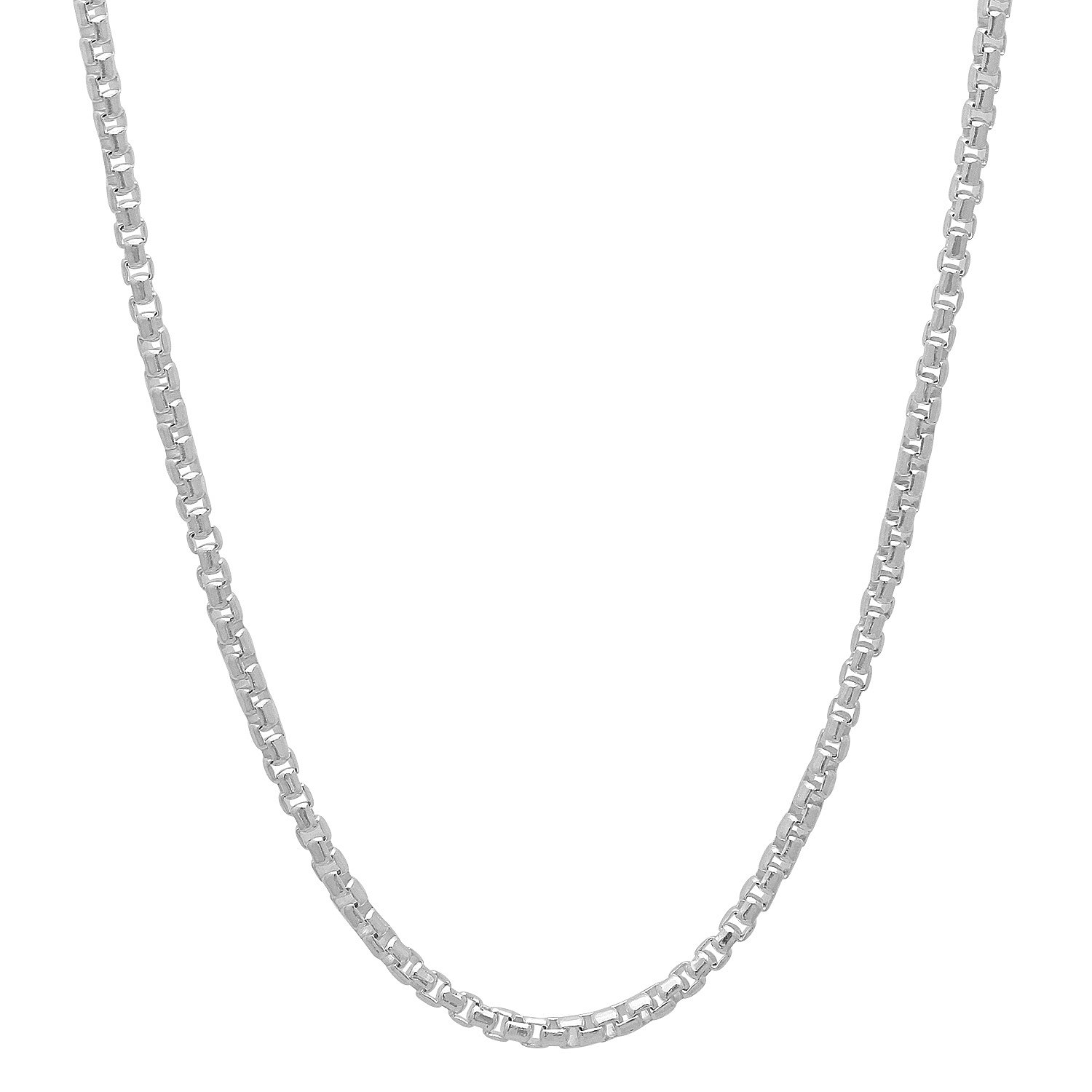 ".925 Sterling Silver Italian Crafted 1.9mm Round Box Chain Necklace, 18""20""22""24""28""30"" - Nickel-Free"