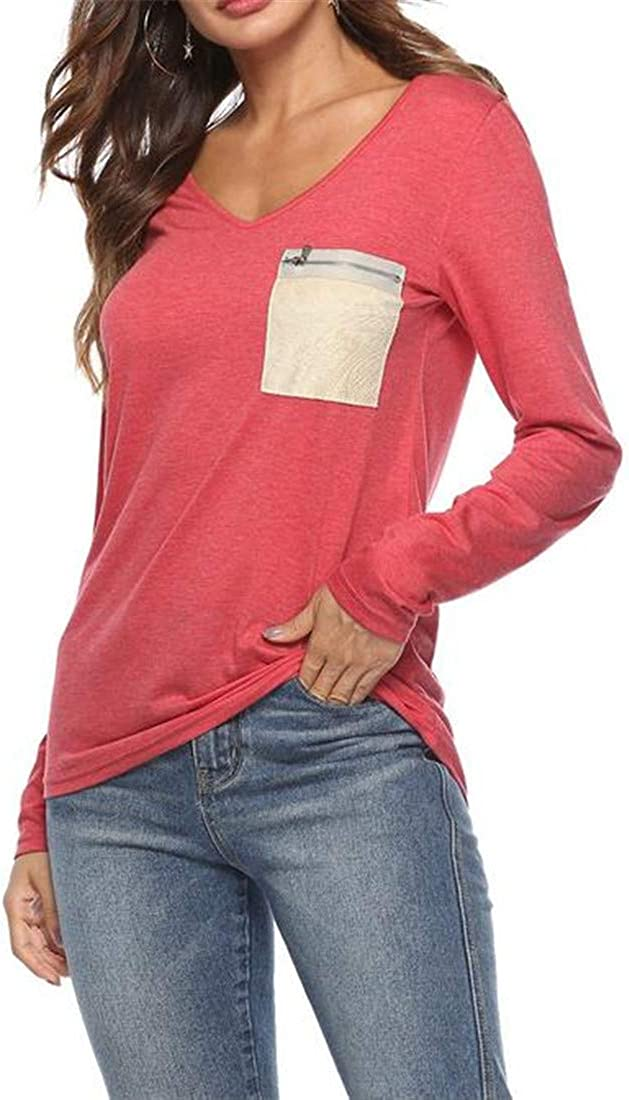 Hajotrawa Womens Long Sleeve Casual V Neck Zipper-Pocket T-Shirts Blouse Tops