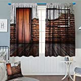 Antique Decor Waterproof Window Curtain Picture Frame Put On a Damaged Brick Wall in Aged Old Room Rustic Wooden Floor.jpg Blackout Draperies For Bedroom 84''x84''