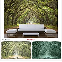 Wallpaper Startonight Nature HD Wall Mural Trees Tunnel Large Cool Bundle for Bedroom Bonus Free GIFT 3D Poster Green Trees (8 feet 4inch By 12 feet /366 x 256 cm)