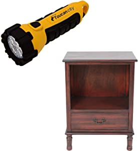 Toucan City LED Flashlight and Decor Therapy Williamson Vintage Cherry Side Table FR8700