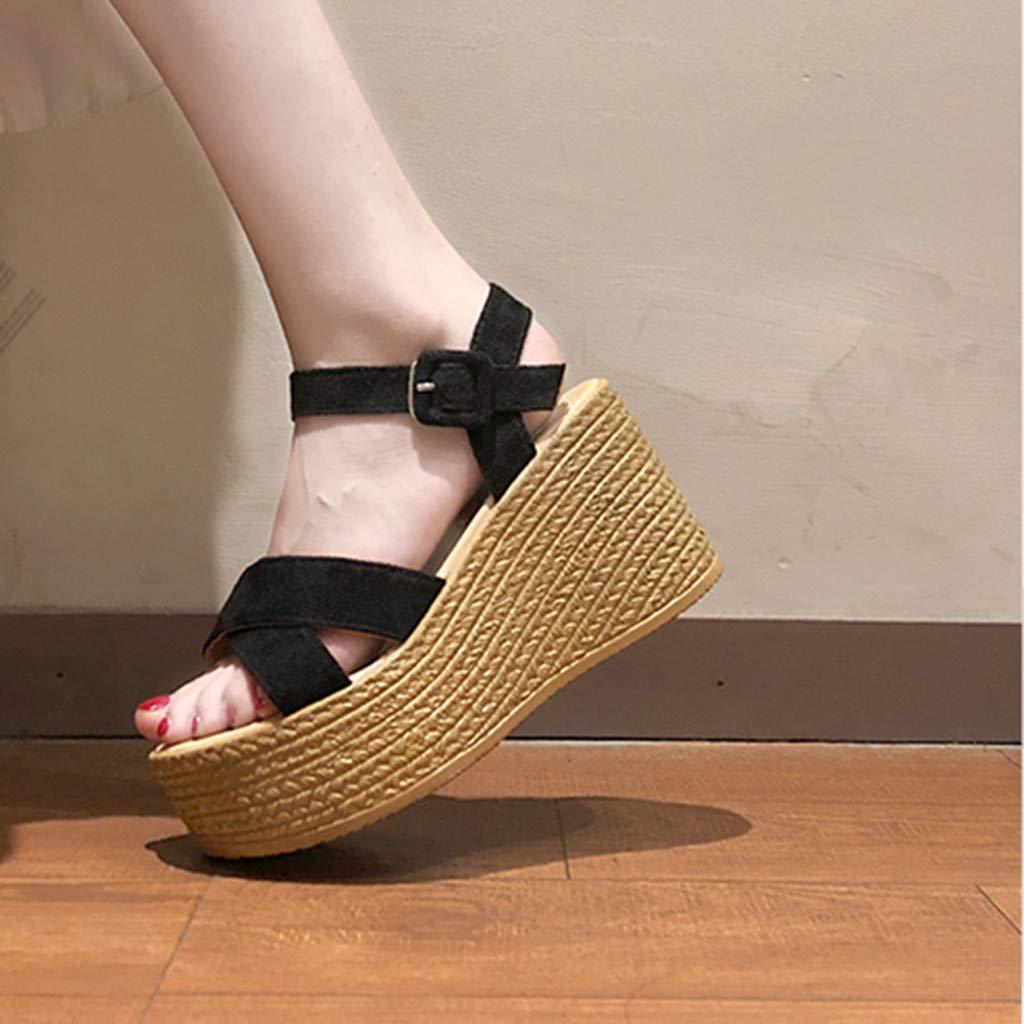 Womens Wedge Sandals Across The Top Platform Sandals High Heels Open Toe Platforms Peep Toe Sandals