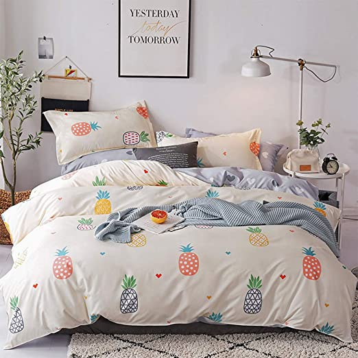 Lamejor Pineapples Heart Duvet Cover Set Queen Size Cute Coloured Tropical Fruit Print Reversible Bedding Set Comforter Cover 1 Duvet Cover 2 Pillowcases Yellow Gray Amazon Ca Home Kitchen
