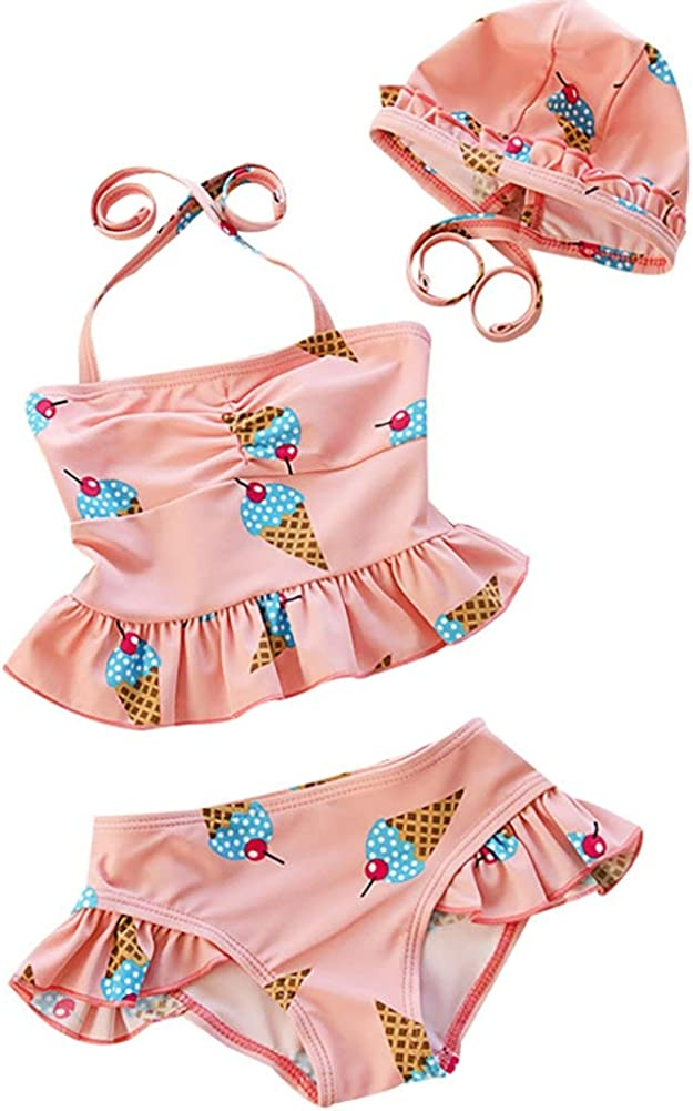 Baby Toddler Girls Two Piece Tankini Swimsuits Halter Pink and Yellow Swimwear Bathing Suit with Princess Hat UPF50+