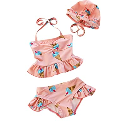 70dfb003b3 Amazon.com: Baby Toddler Girls Two Piece Tankini Swimsuits Halter Pink and Yellow  Swimwear Bathing Suit with Princess Hat UPF50+: Clothing