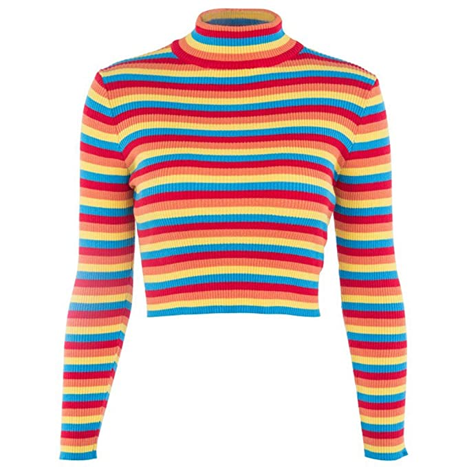 dee88fe22e0 Huaxix Womens Autumn Long Sleeve Turtleneck Sweater Colorful Rainbow  Stripes Short Crop Tops Bodycon Ribbed Knitted Basic Pullover Jumper
