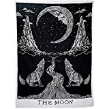 Sunmner Crying Wolf of The Moon Tapestry Black And White Wall Hanging Tapestry Bohemian Hippie Ethnic Wall Art Hippy Tapestry Meditation Tapestries
