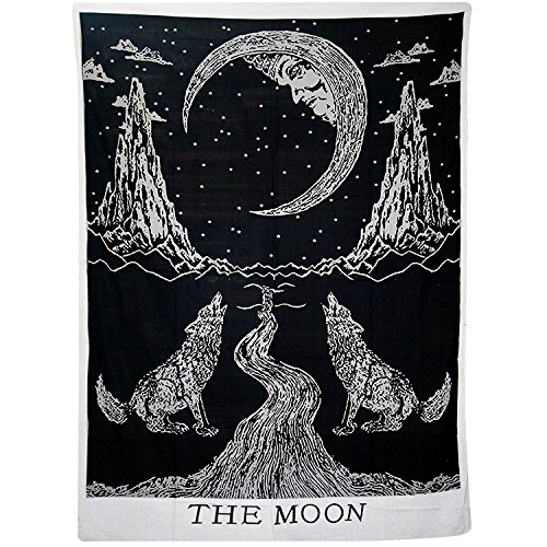 Sunmner Crying Wolf of The Moon Tapestry Black And White Wall Hanging Tapestry Bohemian Hippie Ethnic Wall Art Hippy Tapestry Meditation Tapestries ()