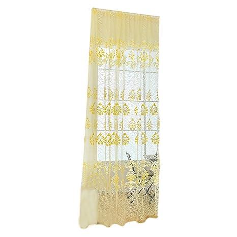 Voilage Fleur Panneau Rideau De Voile Tulle Classique Pour Fenêtre Chambre    Jaune