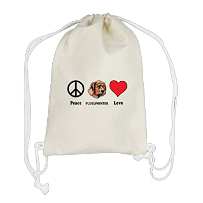 hot sale Canvas Cotton Drawstring Bag Backpack Peace Love Pudelpointer Dog Style In Print