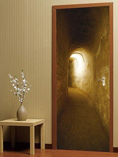 Anti-3D estéreo pegatinas de la puerta túnel de la sala de estar puerta de